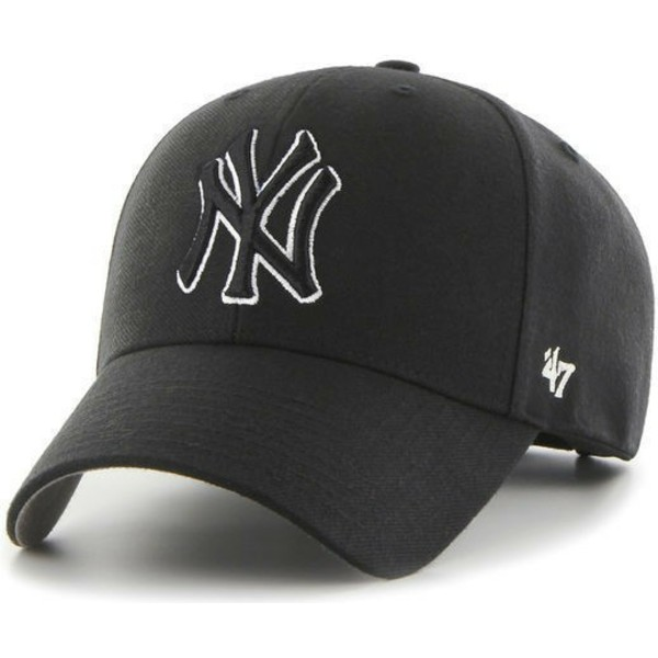 47-brand-curved-brim-black-and-white-logo-black-logo-new-york-yankees-mlb-mvp-black-snapback-cap