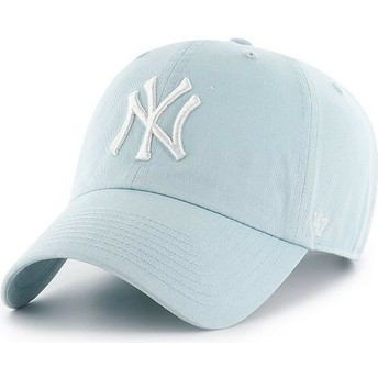 47 Brand Curved Brim New York Yankees MLB Clean Up Light Blue Cap