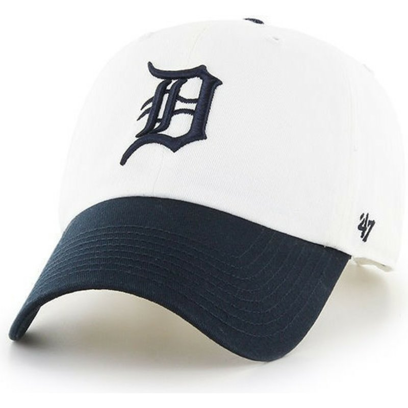 47-brand-curved-brim-detroit-tigers-mlb-clean-up-two-tone-white-cap