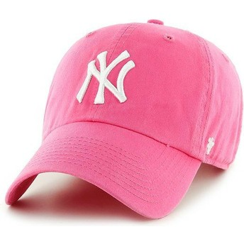 47 Brand Curved Brim New York Yankees MLB Clean Up Pink Cap