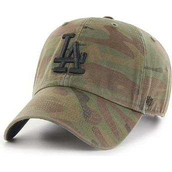 47 Brand Curved Brim Black Logo Los Angeles Dodgers MLB Regiment Clean Up Camouflage Cap