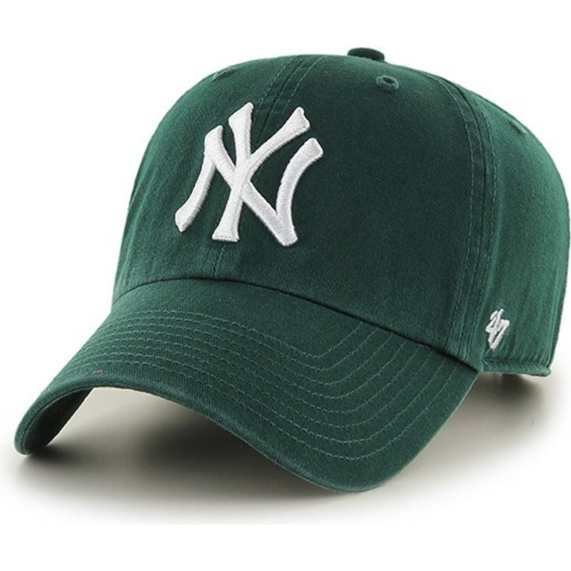 47-brand-curved-brim-dark-green-white-logo-new-york-yankees-mlb-clean-up-green-cap
