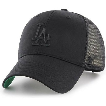 47 Brand Black Logo Los Angeles Dodgers MLB MVP Branson Black Trucker Hat