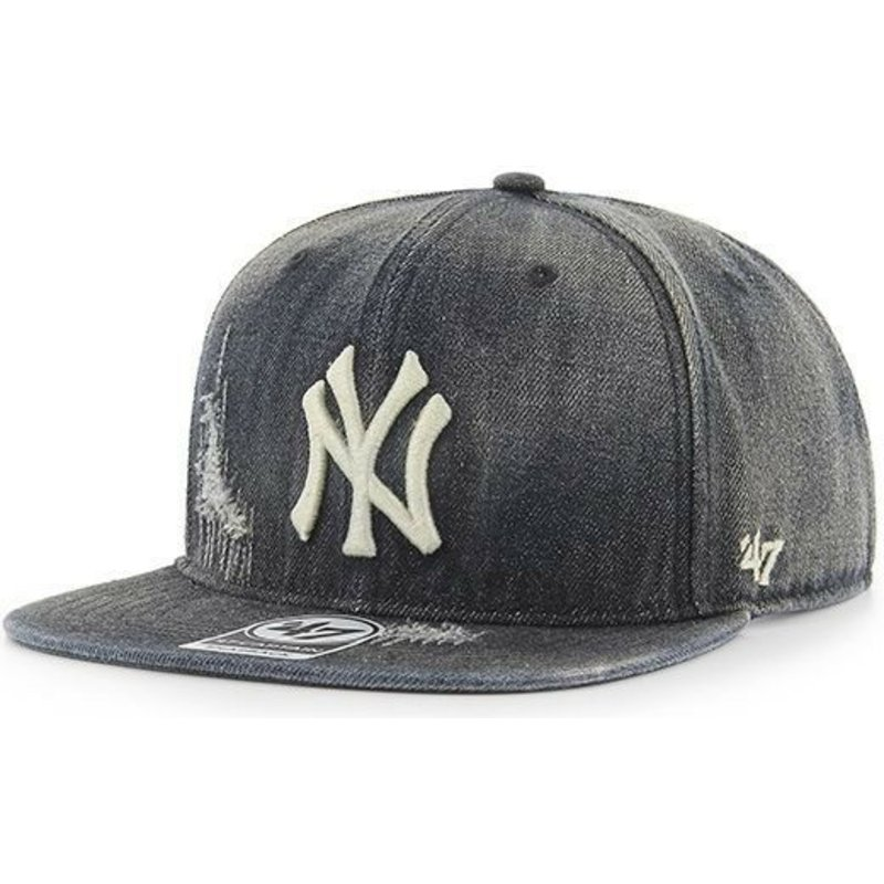 47-brand-flat-brim-new-york-yankees-mlb-captain-loughlin-denim-cap