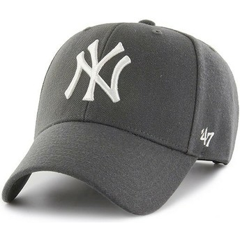 47 Brand Curved Brim New York Yankees MLB MVP Dark Grey Snapback Cap