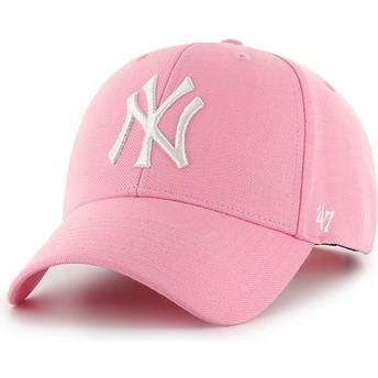 47 Brand Curved Brim New York Yankees MLB MVP Pink Snapback Cap