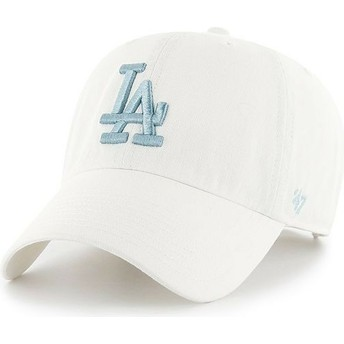 47 Brand Curved Brim Blue Logo Los Angeles Dodgers MLB Clean Up White Cap