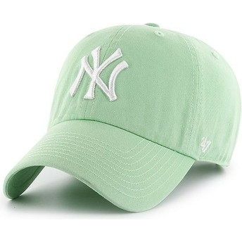 47 Brand Curved Brim New York Yankees MLB Clean Up Light Green Cap