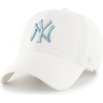 47 Brand Curved Brim Blue Logo New York Yankees MLB Clean Up White Cap