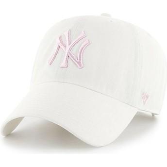 47 Brand Curved Brim Pink Logo New York Yankees MLB Clean Up White Cap