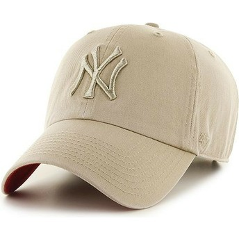 47 Brand Curved Brim Beige Logo New York Yankees MLB Clean Up Beige Cap