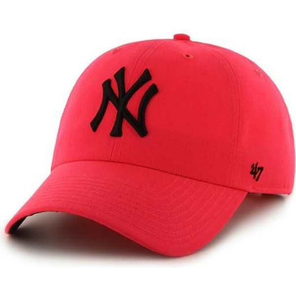 47-brand-curved-brim-new-york-yankees-mlb-clean-up-neon-pink-cap