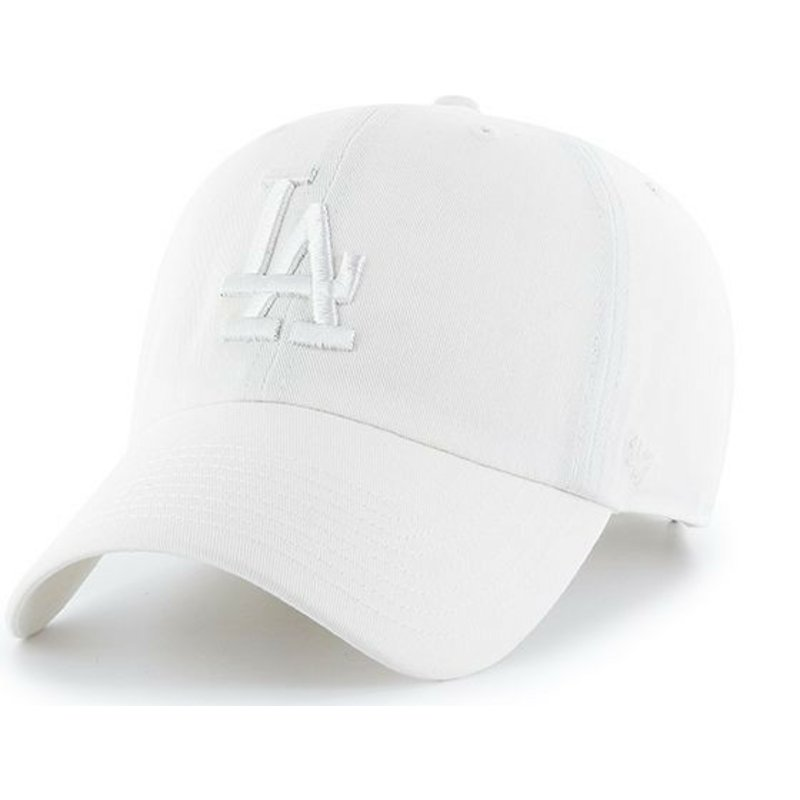 47-brand-curved-brim-white-logo-los-angeles-dodgers-mlb-clean-up-white-cap