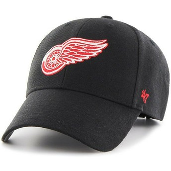 47 Brand Curved Brim Red Logo Detroit Red Wings NHL MVP Black Cap