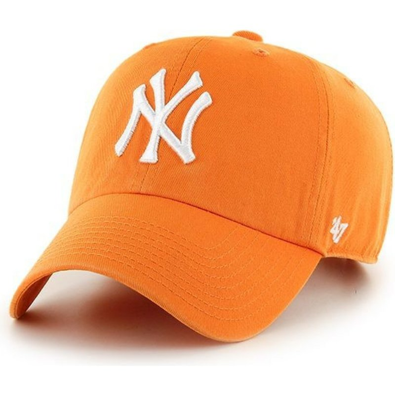 47-brand-curved-brim-new-york-yankees-mlb-clean-up-bright-orange-cap