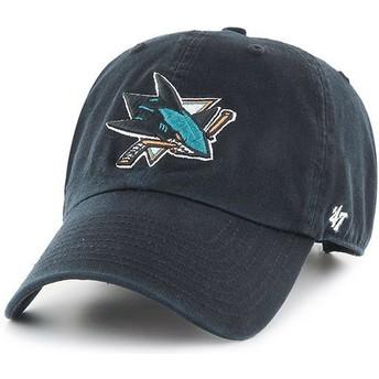 47 Brand Curved Brim San Jose Sharks NHL Clean Up Black Cap