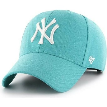 47 Brand Curved Brim New York Yankees MLB MVP Turquoise Green Snapback Cap