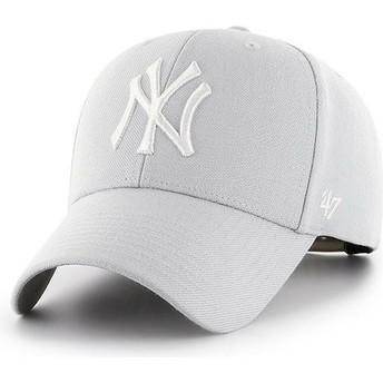 47 Brand Curved Brim New York Yankees MLB MVP Silver Grey Snapback Cap