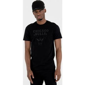 New Era Dark Grey Logo Chicago Bulls NBA Black T-Shirt