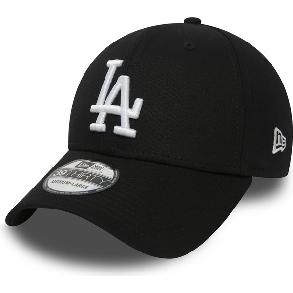 new-era-curved-brim-39thirty-essential-los-angeles-dodgers-mlb-black-fitted-cap