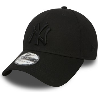 New Era Curved Brim Black Logo39THIRTY Classic New York Yankees MLB Black Fitted Cap