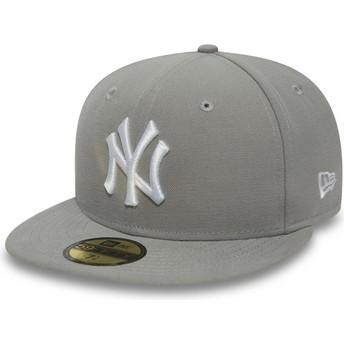 New Era Flat Brim White Logo9FIFTY Essential New York Yankees MLB Grey Fitted Cap