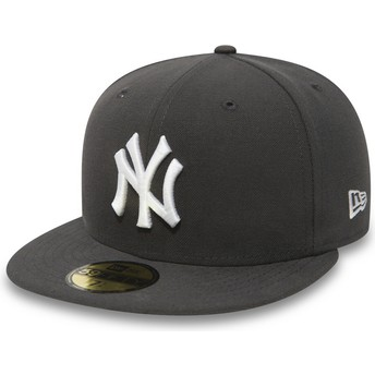 New Era Flat Brim 59FIFTY Essential New York Yankees MLB Stone Grey Fitted Cap