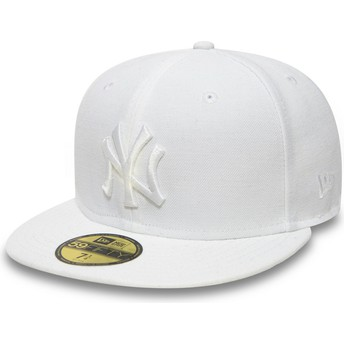 New Era Flat Brim 59FIFTY White on White New York Yankees MLB White Fitted Cap