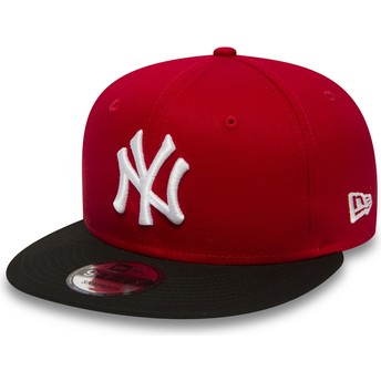 New Era Flat Brim 9FIFTY Cotton Block New York Yankees MLB Red Snapback Cap