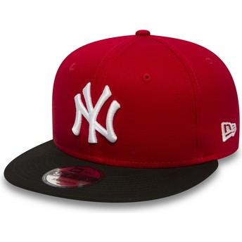 New Era Flat Brim 9FIFTY Cotton Block New York Yankees MLB Red Snapback Cap
