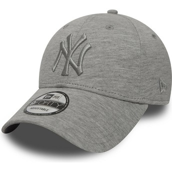 New Era Curved Brim Grey Logo 9FORTY Essential New York Yankees MLB Grey Adjustable Cap