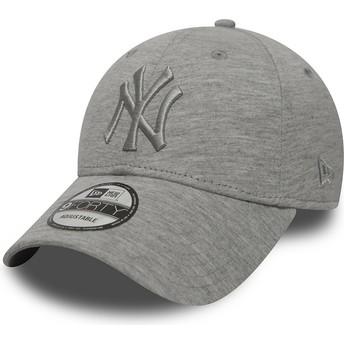 New Era Curved Brim Grey Logo 9FORTY Essential New York Yankees MLB Grey Adjustable Cap
