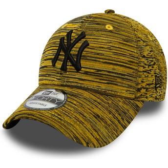 New Era Curved Brim Black Logo 9FORTY Engineered Fit New York Yankees MLB Yellow Adjustable Cap