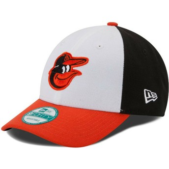 New Era Curved Brim 9FORTY The League Baltimore Orioles MLB White, Black and Orange Adjustable Cap