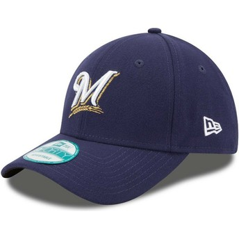 New Era Curved Brim 9FORTY The League Milwaukee Brewers MLB Navy Blue Adjustable Cap