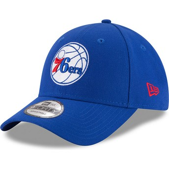 New Era Curved Brim 9FORTY The League Philadelphia 76ers NBA Blue Adjustable Cap