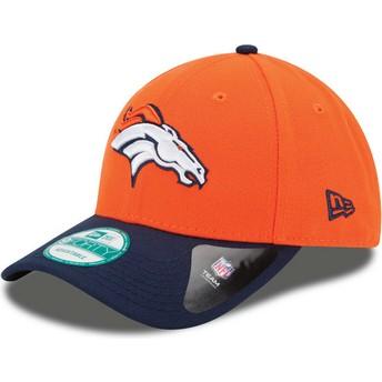 New Era Curved Brim 9FORTY The League Denver Broncos NFL Orange and Navy Blue Adjustable Cap