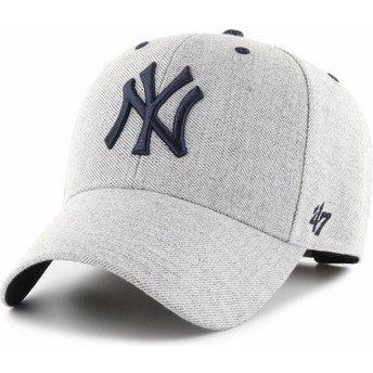 47 Brand Curved Brim New York Yankees MLB MVP Storm Cloud Grey Adjustable Cap