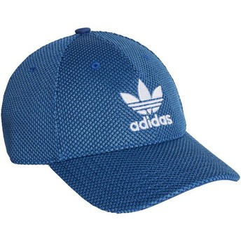 Adidas White Logo Curved Brim Trefoil Primeknit Blue Adjustable Cap