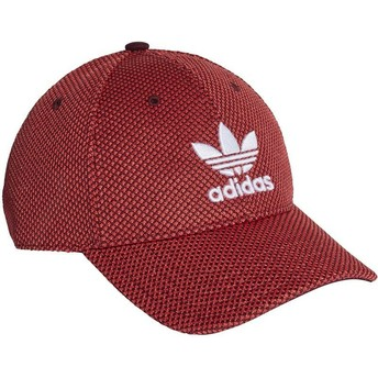 Adidas White Logo Curved Brim Trefoil Primeknit Red and Black Adjustable Cap