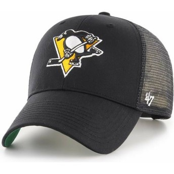 47 Brand Yellow Logo Pittsburgh Penguins NHL MVP Branson Black Trucker Hat