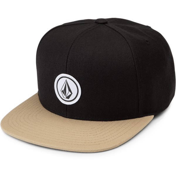 volcom-flat-brim-sand-brown-quarter-twill-black-snapback-cap-with-brown-visor