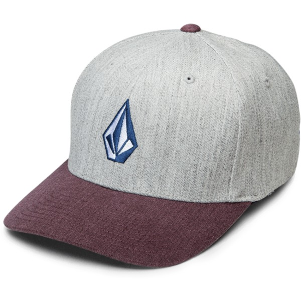 volcom-curved-brim-cabernet-full-stone-hthr-xfit-grey-fitted-cap-with-red-visor