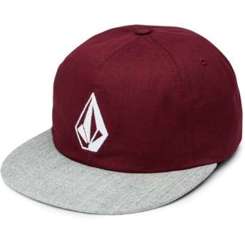 Volcom Flat Brim Wild Ginger Stone Battery Red Adjustable Cap with Grey Visor