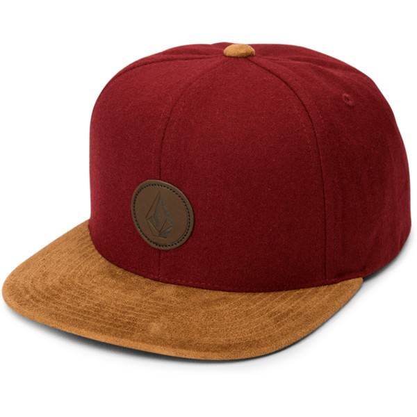 volcom-flat-brim-crimson-quarter-fabric-red-snapback-cap-with-brown-visor