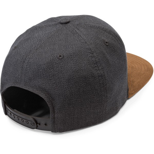 volcom-flat-brim-mud-quarter-fabric-black-snapback-cap-with-brown-visor