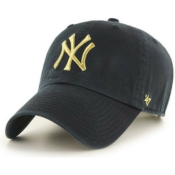 47 Brand Curved Brim Gold Logo New York Yankees MLB Clean Up Metallic Black Cap
