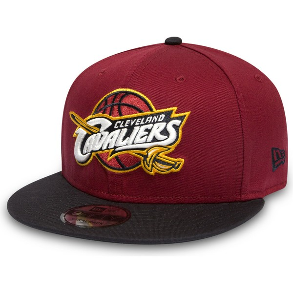 new-era-flat-brim-9fifty-cleveland-cavaliers-nba-red-and-black-snapback-cap