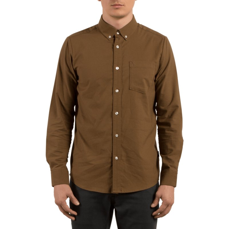 volcom-mud-oxford-stretch-brown-long-sleeve-shirt