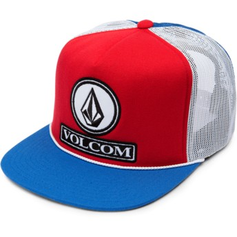 Volcom Motorhead Red Dually Cheese Blue, Red and White Trucker Hat